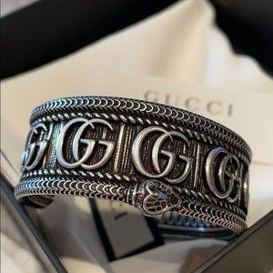 GUCCI GG Snake Marmot Sterling Silver Bracelet